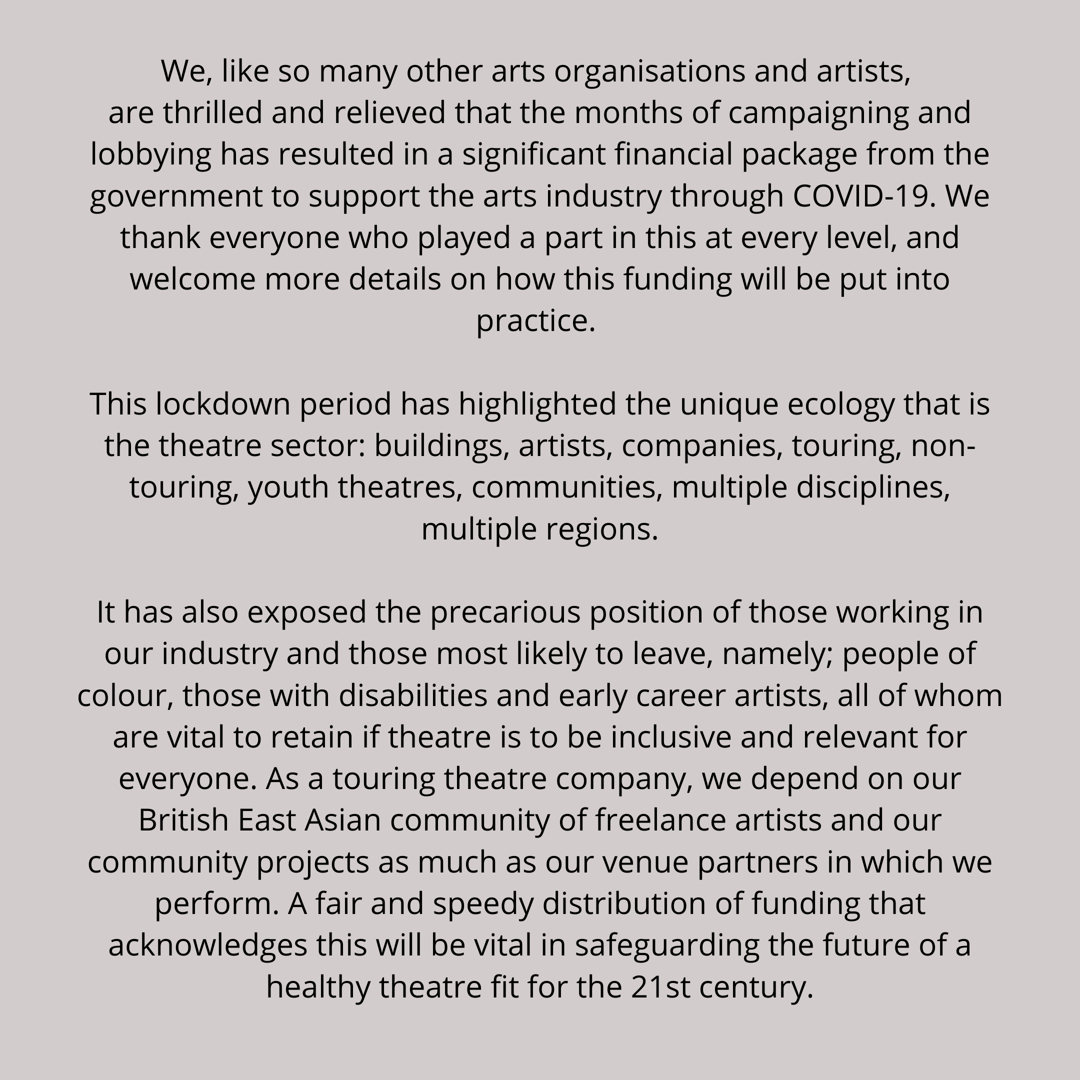 Statement on the Government's Arts Rescue Package